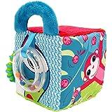 LUDI - Cube en tissu pour l'éveil de bébé 10 x 10 x 10 cm. Multiples activités sensorielles qui attirent la curiosité. Différ