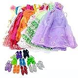 Lance Home 5 Stücke Kleid + 10 Paar Schuhe Handgemachte Mode Hochzeit Kleid Kleider und Kleider für Barbie-Puppe-Weihnachtsgeschenk