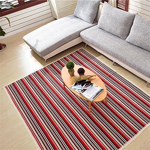 Red Stripe Teppich (LH-RUG Teppiche & Matten Baumwolle Baby Kind Crawling Teppich Wohnzimmer Schlafzimmer Nachttisch Teppich Matratze Tür Matte Red Stripes (größe : 180 * 220cm))