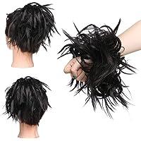 Elailite Chignon Capelli Extension Elastico Posticci Hair Finti Ricci Ponytail Coda Ciambella Finta, Marrone Scuro