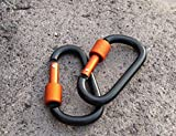 Liroyal black D Carabiner Camp Spring Snap Clip Hook Keychain Keyring Climbing Hiking