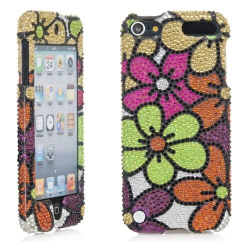 iPod Touch, 3D Weiß Perle Bling Strass Kristall Jeweled Snap on Full Cover Fall für Apple iPod Touch 6. Gen. 5. Gen, Mehrfarbiges Blumenmuster Jeweled Bling Case