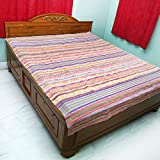Bovzen Khesh Rug Cum Carpet Cum Bedcover Handloom Satranji 100% Pure Cotton Pink Base 9ft 7inches by 7ft 8 inches