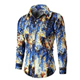 NINGSANJIN Trachtenhemden für Herren Kariertes Langarmhemd mit Krempelarm - Fitted Herren-Hemd,Hemd,Trachten-Hemd (Blau,M)