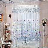 Cerlemi Transluzente Voile Gardinen Patchwork Streifen Durchsichtig Vorhänge mit Ösen für Wohnzimmer Schals Schlafzimmer Vorhänge Kinderzimmer Dekoschals Für Große Fenster