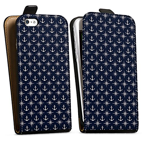 Apple iPhone X Silikon Hülle Case Schutzhülle Anker Kompass Muster Downflip Tasche schwarz