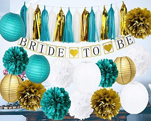 HappyField Braut zu Sein Banner weiß blaugrün Gold Tissue Pom Pom Papier Lanternd Quaste Garland für Junggesellenabschied / Teal Braut Dusche Dekorationen