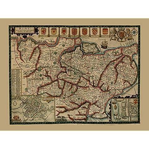 Riproduzione Xvii Secolo Antico County Map di Kent, by John