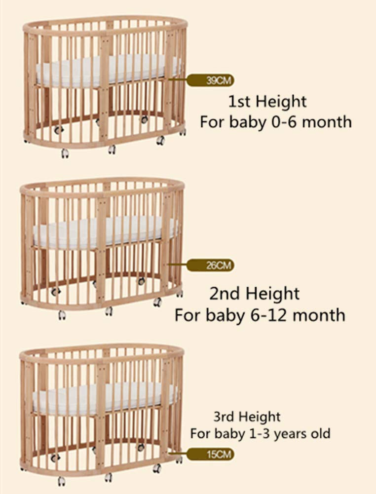 KLI 5 In 1 Multi Function Newborn Infant Crib Solid Harmless Paint Wood Baby Cradle Rocking Bed,125 * 73 * 76Cm KLI Shipping list : crib Size:125*73*76cm. Natural pine wood, harmless paint, polished and smooth, environmental wood, good for your baby 3 grade height adjustment: grade 1 (39cm from the floor)can be used for baby in 0-6 month, convenient to take out baby; grade 2 (26cm from the floor) for baby in 6-12 months and can stand independently;grade 3 (15cm from the floor) for baby in 1-3 years old. 3