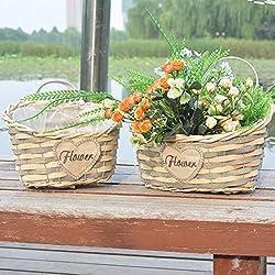 OLQMY-Macetas, mimbre y paja, cesta de la flor, florero del arte, adornos decorativos,Trompeta