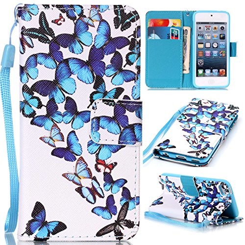 Price comparison product image For Apple iPod Touch 5 / 6 Leather Flip Case Cover, Ecoway Colorful Painted PU Leather Stand Function Protective Cases Covers with Card Slot Holder Wallet Book Design, Soft TPU Silicone Inner Bumper Full Protection Detachable Hand Strap for Apple iPod Touch 5 / 6 - Group butterfly