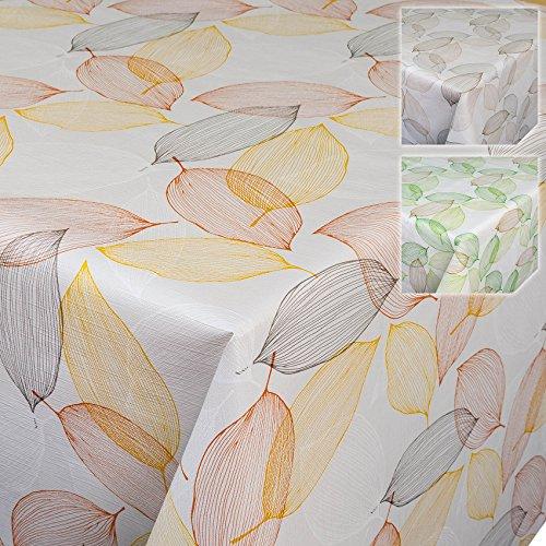 Nappe toile cirée Nappe Toile Cirée Nappe Cirée lavable feuilles abstrait moderne Ambiance, Toile cirée, Rot / Gold / Hellgrau, 200 x 140cm