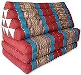Kapok Thaikissen, Yogakissen, Massagekissen, Kopfkissen, Tantrakissen, Sitzkissen - rot/blau (Kissen mit drei Auflagen XXL 79x53x46 (81218))