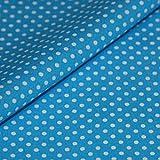 Punkte Baumwollstoff Meterware blau weiß Tupfen Dots Deko