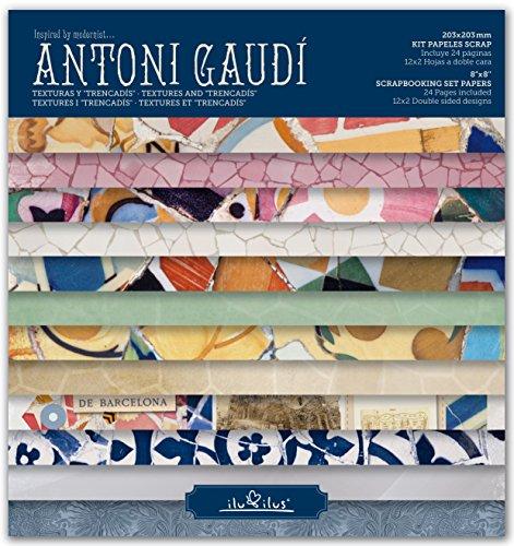 SCRAPBOOKING KIT Papiere, PAD BARCELONA, ANTONI GAUDI 8''x8 '' - 8' Kit