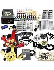 OUKANING Tattoo Kit de Tatouage Complète 2 Machine à Tatouer Professionnelle 20 Encres Power Supply Aiguille de Tatouage Tattoo Kit Set