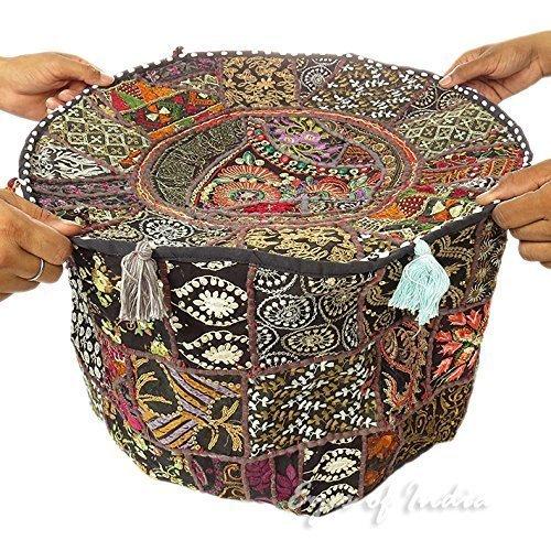 Vintage indio otomana embellecido con bordado y Patchwork pie taburete