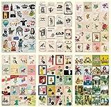 CAOLATOR 24 Blatte Tagebuch Aufkleber Deco Kalender Niedliche Cartoon Tiere Blumen Bunt Charactor Dekoration DIY Frei wählbares Design Scrapbooking Aufkleber
