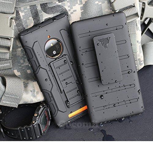 Nokia Lumia 830 Hülle, Cocomii Robot Armor NEW [Heavy Duty] Premium Belt Clip Holster Kickstand Shockproof Hard Bumper Shell [Military Defender] Full Body Dual Layer Rugged Cover Case Schutzhülle Nokia (Black)