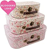 3 X Vintage Floral stunning storage suitcases