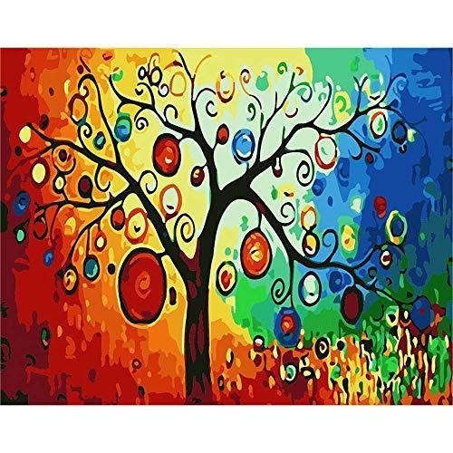 XHCP Malen nach Zahlen Abstrakte Laterne Baum hängen DIY Malerei von digitalen Kit Färbung Ölgemälde auf Leinwand Zeichnung Home Art Wandkunst Bild, 40 * 50cm Rahmenlos -