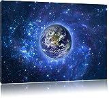 Planet Erde im Weltraum, Format: 80x60 auf Leinwand, XXL riesige Bilder fertig gerahmt mit Keilrahmen, Kunstdruck auf Wandbild mit Rahmen, günstiger als Gemälde oder Ölbild, kein Poster oder Plakat