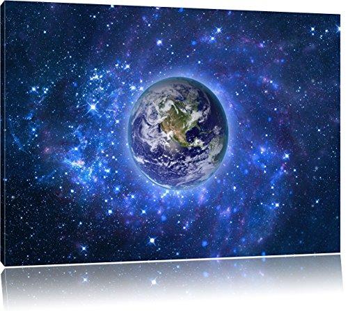 Planet Erde im Weltraum, Format: 120x80 auf Leinwand, XXL riesige Bilder fertig gerahmt mit Keilrahmen, Kunstdruck auf Wandbild mit Rahmen, günstiger als Gemälde oder Ölbild, kein Poster oder Plakat (Erde Globale Bilder Der)