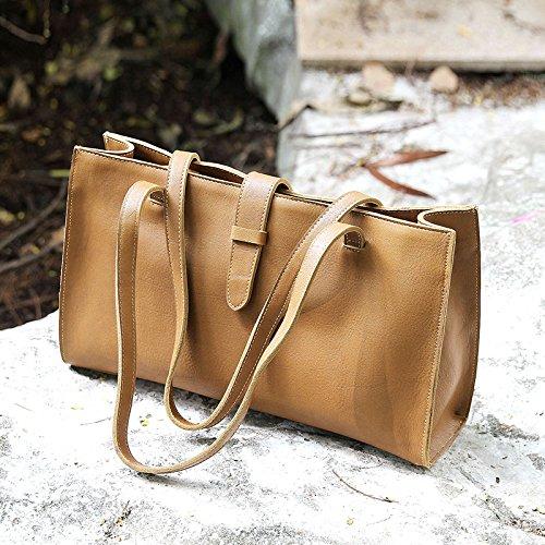 Mode Original sac à main en cuir d'origine en cuir fait main sac à bandoulière pour ordinateur portable Dark khaki in colour