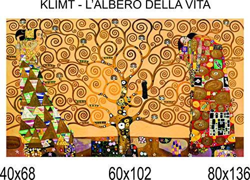 Social Crazy - Impresión en Lienzo 100% Calidad Italia - Klimt - El árbol de la Vida - Efecto Pintado - Idea de Regalo para casa, Cuadro de Cocina, habitación, salón