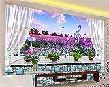 Jonp 3D Tapete Hintergrundbild Wallpaper Hd Wallpaper Für Wände 3D-Fensterbänke Lavendelblüten 3D Wandbild Wand Hintergrund Modern Fashion Persönlichkeit Wallpaper Wandmalerei Fresko Mural 150cmX100cm