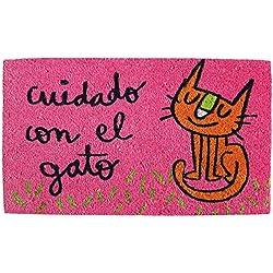 Laroom Felpudo Diseño Cuidado con El Gato, Jute and Base Antideslizante, Rosa, 40x70x1.8 cm