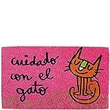 Laroom Felpudo diseño Cuidado con El Gato, Jute & Base Antideslizante, Rosa, 40x70x1.8 cm