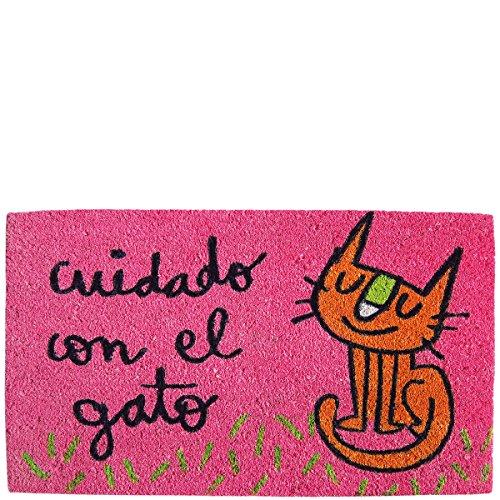 Laroom Felpudo diseño Cuidado con El Gato