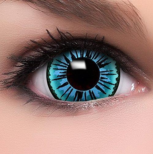 """Farbige Mini Sclera Kontaktlinsen Lenses """"Engel"""" inkl. 10ml Kombilösung und Behälter, in blau, weich ohne Stärke, 2er Pack - Top-Markenqualität, angenehm zu tragen und perfekt zu Halloween oder Karneval"""