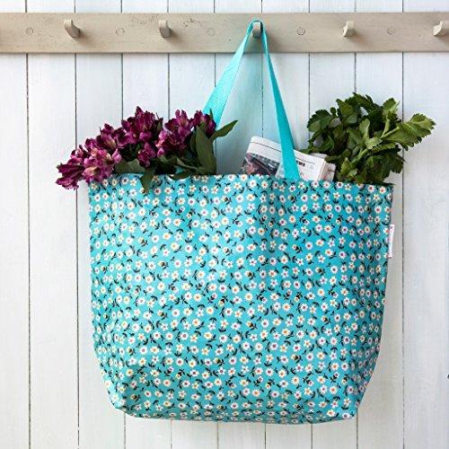 LS Jumbo Shopper Einkaufstasche recycled Strandtasche Schultertasche Blume XL - Blume Blau
