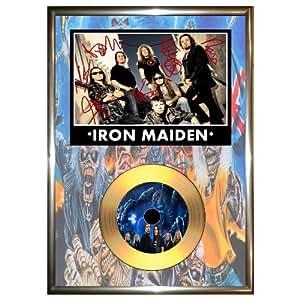 Iron Maiden–encadrée signé or vinyle Disque et photo dédicacée