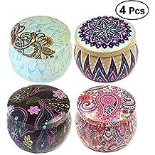 Healifty Té latas Vintage Flores Cajas de Regalo Boda Candy doesen Velas latas Caja Organizadora 4