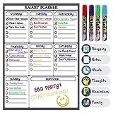 Magnetisches Whiteboard | Memo-Board, wöchentliche Essensplanung, nützliche magnetische Einkaufsliste | Memo-Kühlschrank-Kalender für Erwachsene und Kinder | Trocken abwischbarer Wochenplaner | Leichte Reinigung und Beschriftung mit starkem Magnet