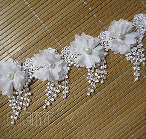 3metres 3d en mousseline de soie Fleurs en tissu Perle Bordure en dentelle roses à tricoter brodée en tulle Fleur pour mariage Robe Couture DIY accessoire de mariage