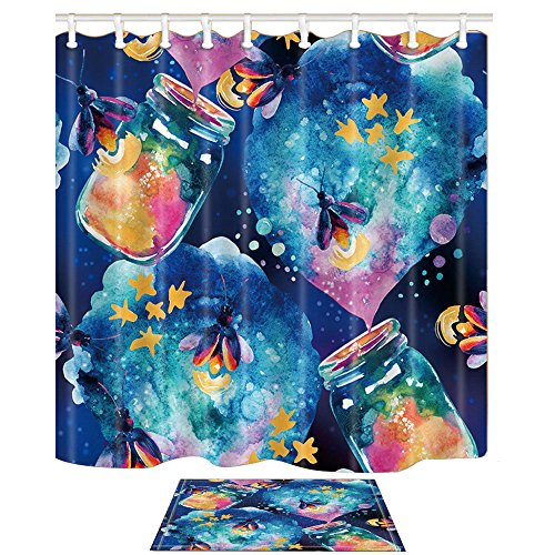 KOTOM Abstract Fairy Tale Decor Shower Curtain Set Magic Bottle And Firefly Watercolor