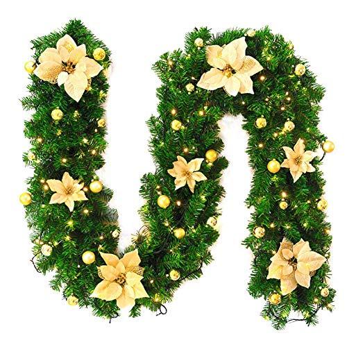 Loveinwinter Guirnalda Navidad 2.7 M,LED,Vid De Flor Artificial Decorada con Flores,Abeto Guirnalda...