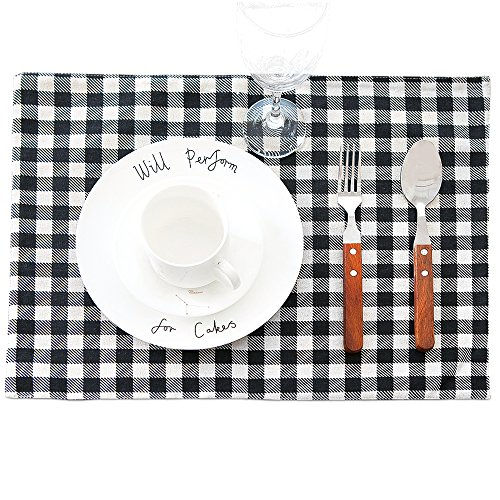 Lot de 4 sets de table en coton et lin OD rectangle noir et blanc Plaid la chaleur Isolation bols Tapis