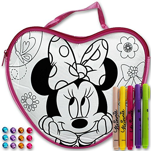 Disney Tasche - Kinder Tasche zum ausmalen - Kindergarten Tasche - Schultasche - Colour Your Own Bag mit Modellauswahl (Colour Your Own Purse Princess pink) Colour Your Own Bag Minnie Mouse