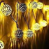 SunJas 20 LEDs 4,8 Meter Solar Outdoor Lichterketten Lampe Leuchte mit Marokko-Ball, Innen- und Außen Weihnachtsbeleuchtung für Garten Patio Party Hochzeit Weihnachten