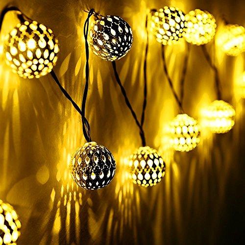 SunJas 20 LEDs 4,8 Meter Solar Outdoor Lichterketten Wasserdicht Lampe Leuchte mit Marokko-Ball Design Innen- und Außen Weihnachtsbeleuchtung für Garten Patio Party Hochzeit Weihnachten (20 Leds warmweiß) (Outdoor-solar-leuchten Led)