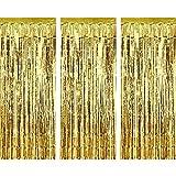 3 Packung Metallic Tinsel Vorhänge, Folie Fringe Shimmer Vorhang Tür Fenster Dekoration für Geburtstag Hochzeit (Gold)