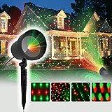 COOWOOO Projecteur Led éclairage de Noël pour l'intérieur et l'extérieur rouge-vert avec 8 motifs