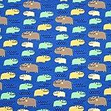 MAGAM-Stoffe Holly Hippo Blau Jersey Kinder Stoff Oeko-Tex