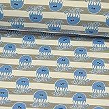 Baumwolljersey Quallen auf Streifen Organic Cotton Grau - weiß Kinderstoffe - Preis Gilt für 0,5 Meter