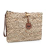 SKPAT - 09505 Raffia beauty bag, beach beauty bag. Closed with zipper. Additional handle and printed polyester lining, Color Leather